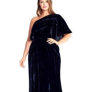 Adrianna Papell Velvet one Shoulder dress size 14